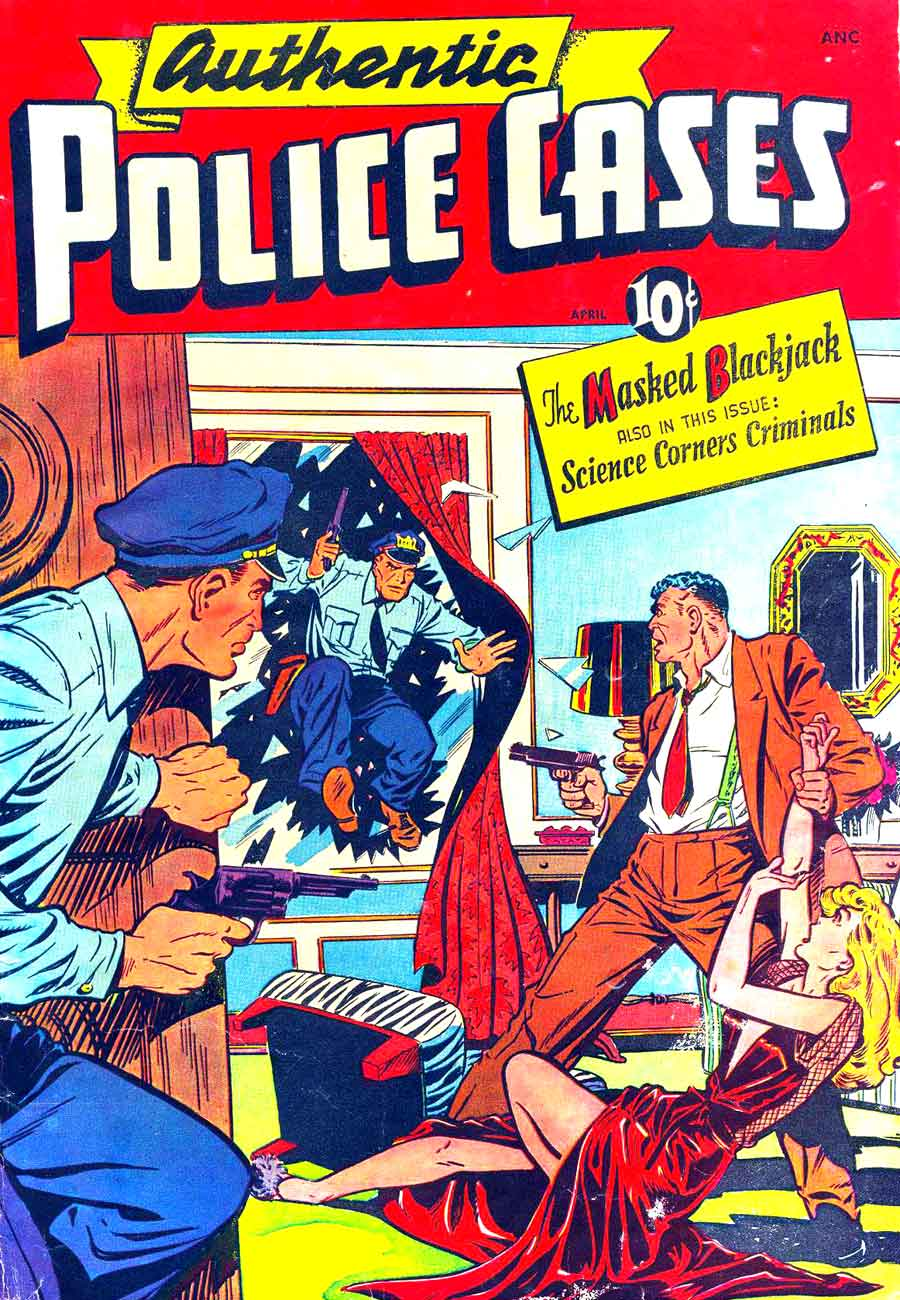 Authentic Police Cases v1 #7 st john crime comic book cover art by Matt Baker