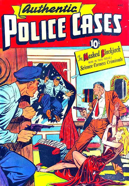 Authentic Police Cases v1 #7 st john crime comic book cover art by Matt Baker