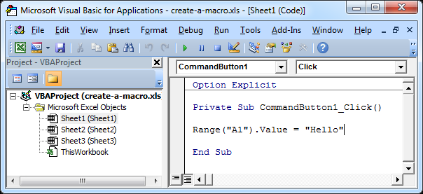 Membuat Makro sederhana (Command Button) di Excel