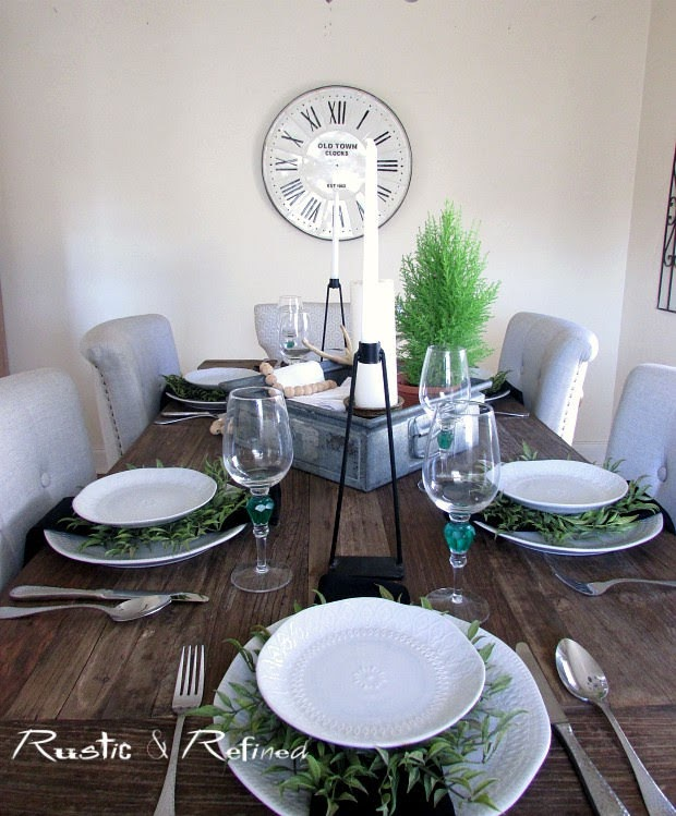 quick and easy farmhouse rustic tablescape for setting the dinner table quick and easily!