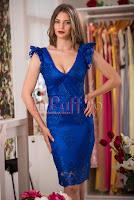 Rochie de seara dantela albastru regal • MBG