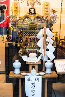 Portable shrine of the Kabuocho neighborhood association, on display at the Kabutocho and Kayabacho Machikado Museum, Nihonbashi-kabutocho, Chuo ward, Tokyo.