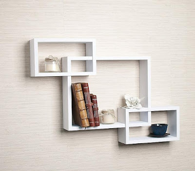 Intersecting White Laminate Wall Shelf