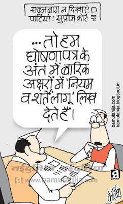 election 2014 cartoons, manifesto, congress cartoon, bjp cartoon, indian political cartoon, election cartoon, election commission