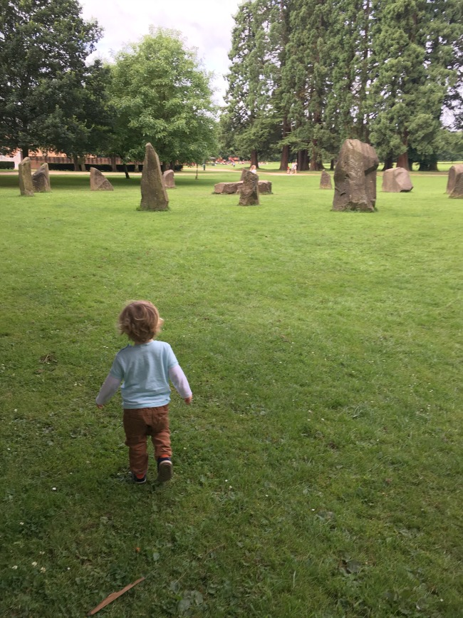 Tredegar-House-&-gardens-a-toddler-explores-the-gorsedd-stones
