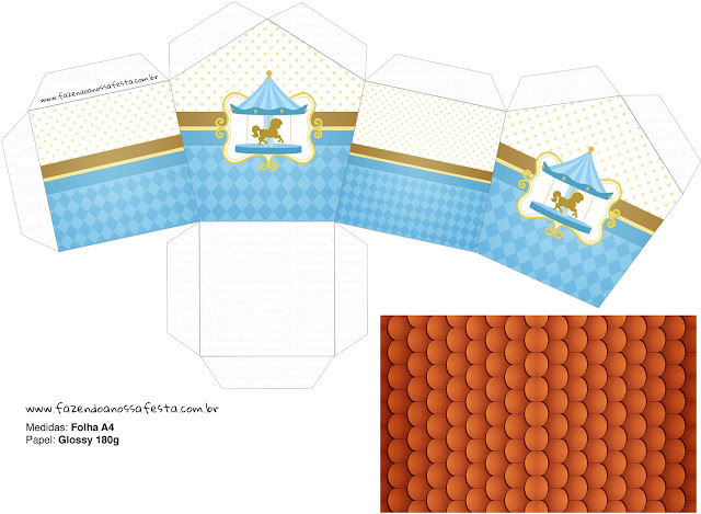 Carousel in Light Blue: Free Printable House Shapped Box.