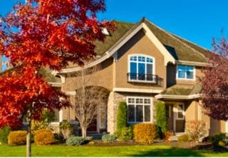 Home with nice fall curb appeal.