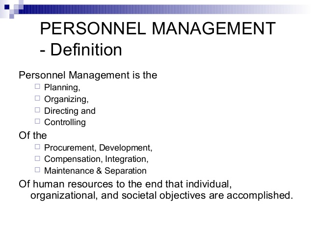 nature of personnel management