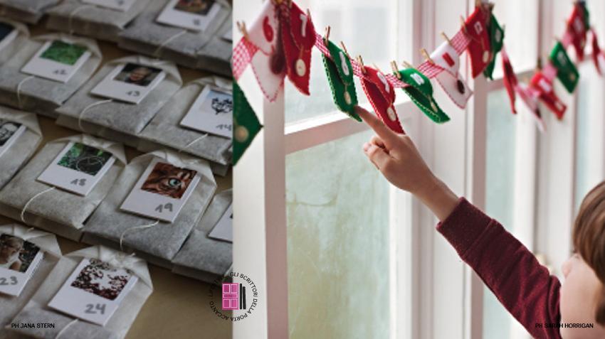 Calendario avvento fai da te: bustine di tè e sacchettini di panno colorati