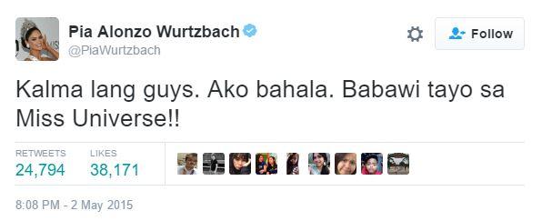 Pia Wurtzbach Kalma lang Babawi tayo