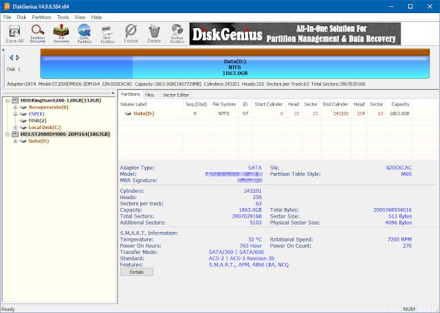 DiskGenius 5.4.1.1178 - Gestor de discos y particiones con potente opción de recuperación de archivos borrados