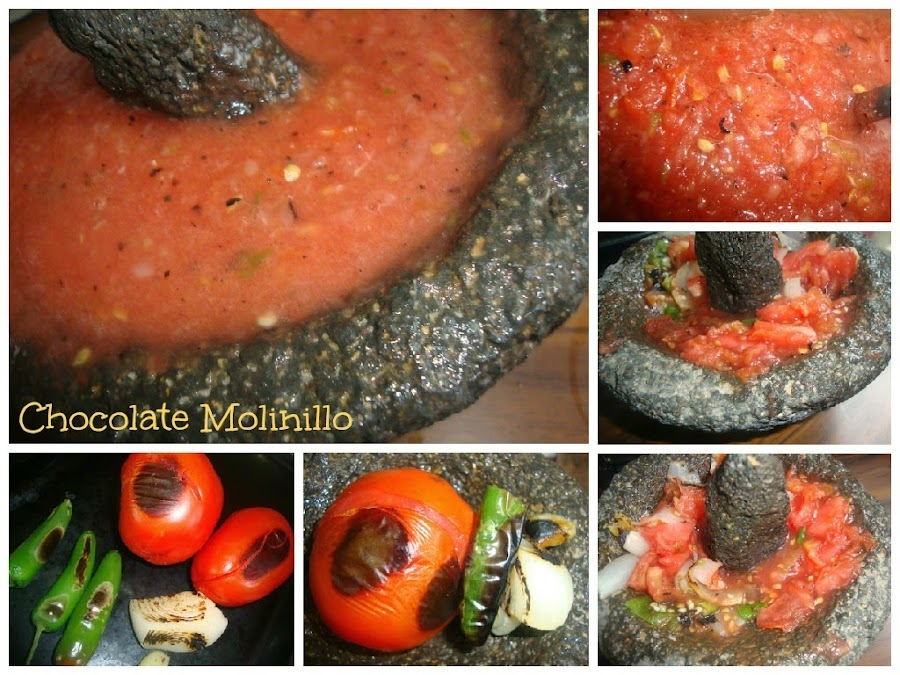 Salsa picante mexicana en molcajete