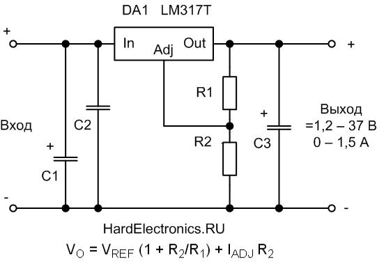 Регулируемый стабилизатор тока и напряжения схема