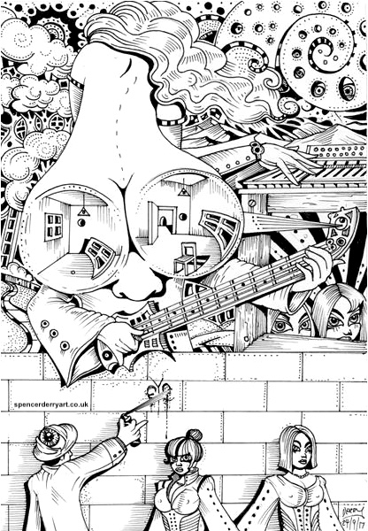Surrealistic Artwork on paper. Bass player behind a wall, a ladies buttocks turn into shades while playing a piano.