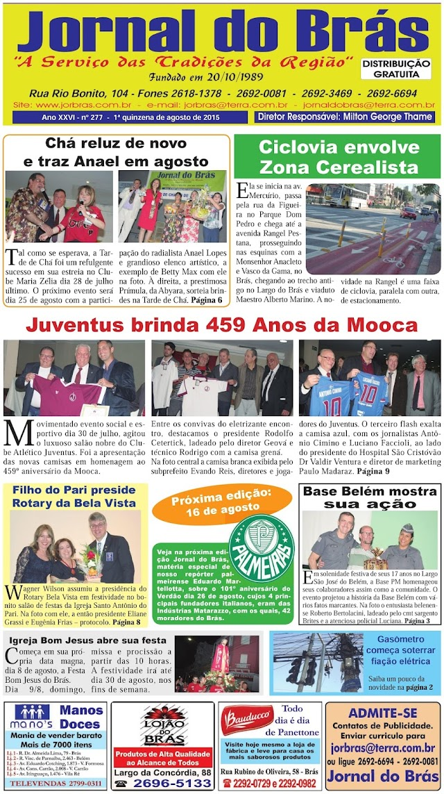 Destaques da Ed. 277 - Jornal do Brás