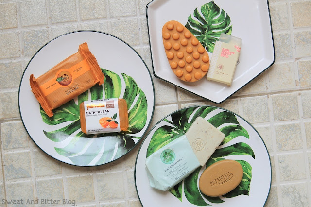 The Body Shop Satsuma, FabIndia Orange Neroli, The Body Shop Argan Oil Massage Bar, The Forest Essential Neem Aloe Sugar Soap, The Body Shop Green Tea Exfoliating Soap, Patanjali Multani Mitti