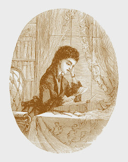 Brown toned vintage line art drawing of a well dress victorian or edwardian woman reading a letter while siting at a richly decorated table.