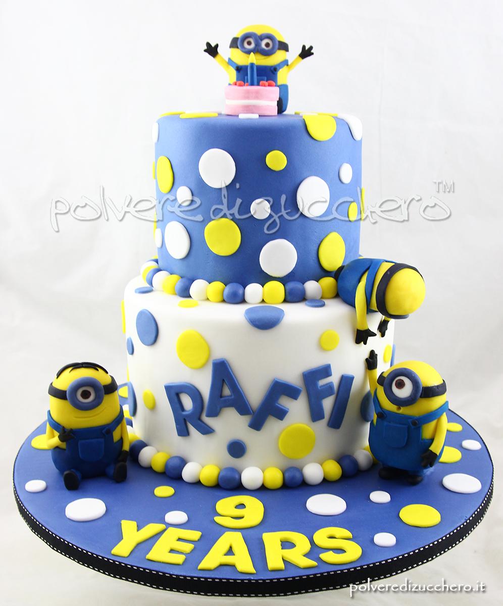 torta decorata cake design minion cake torta minion a piani minion tridimensionali polvere di zucchero