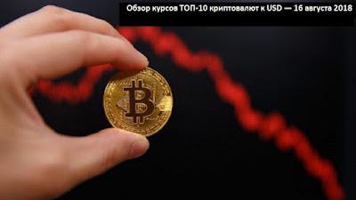 Обзор курсов ТОП-10 криптовалют к USD — 16 августа 2018
