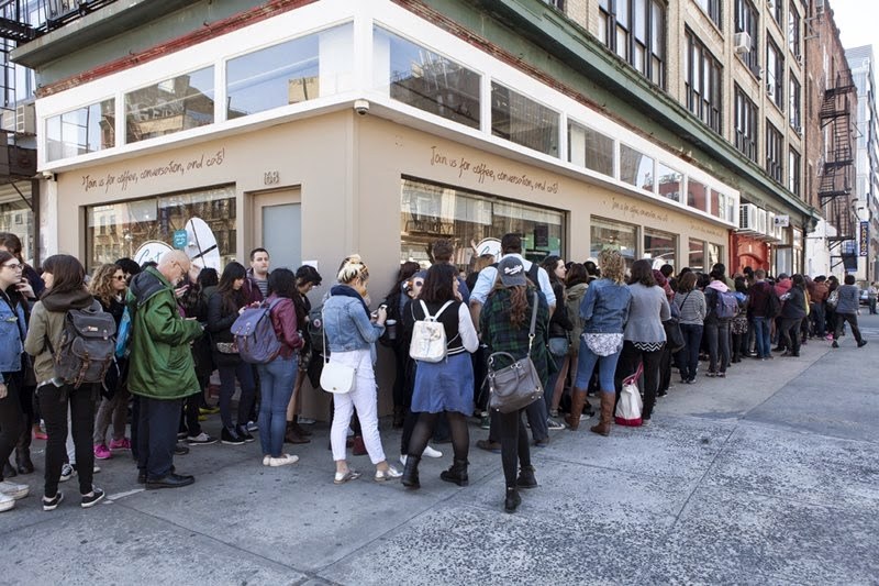 New York (CNN) -- Along the Bowery in Manhattan, people waited in a line that would challenge any fancy art gallery opening or exclusive New York City club.