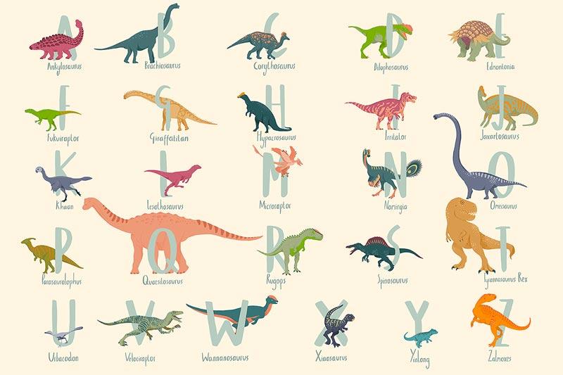 carta da parati dinosauri beige