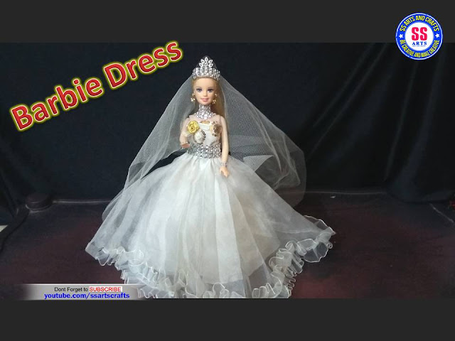 How to make barbie wedding dress at home,doll craft ideas,How to make doll dress at home,how to reuse old clothes,barbie dress making with old clothes,simple barbie dress tutorial,barbie dress life Hacks,How to make Barbie Wedding Dress ssartscrafts nanduri lakshmi youtube channel videos