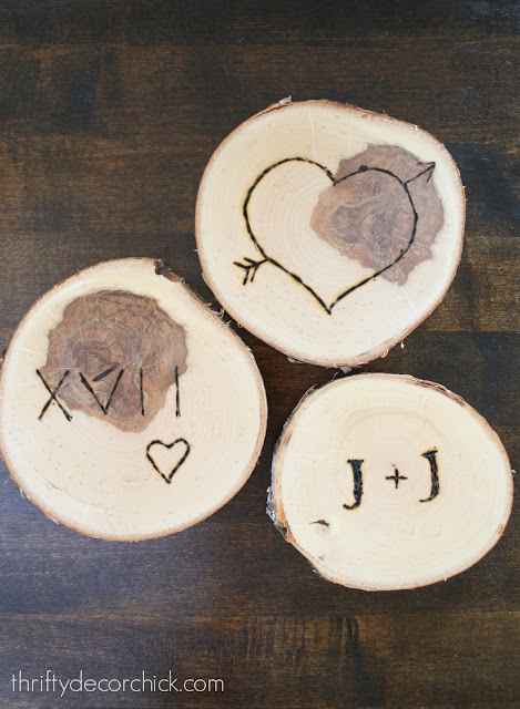 Wood burning craft/gift with wood slices