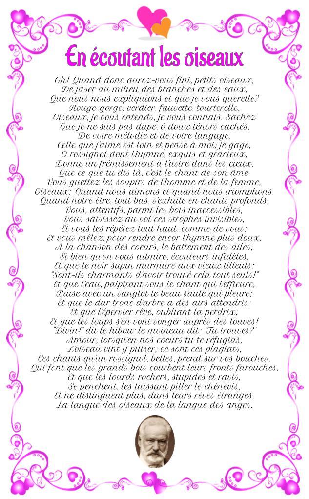 Poème : En écoutant les oiseaux de Victor Hugo