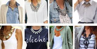 Vários exemplos de colares statement. Com blusa branca, camisa de ganga, top branco, t-shirt azul, t-shirt de riscas e blazer cinza
