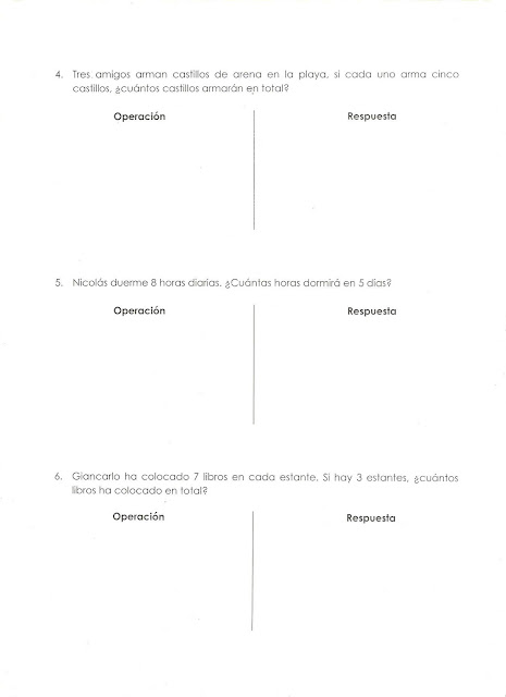 Primeros ejercicios de multiplicación para niños de primaria