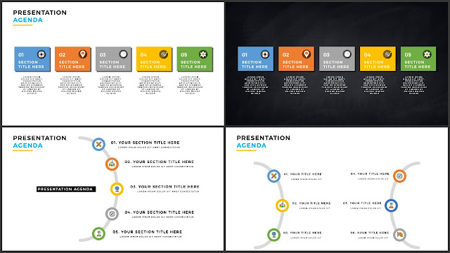 Table of Contents for Free PowerPoint Template using Flat Design and Colored Arc