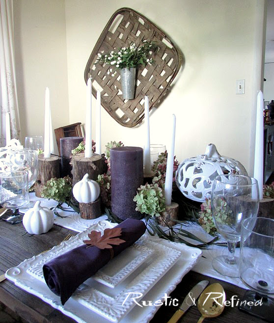 Pretty purple and white Fall tablescape