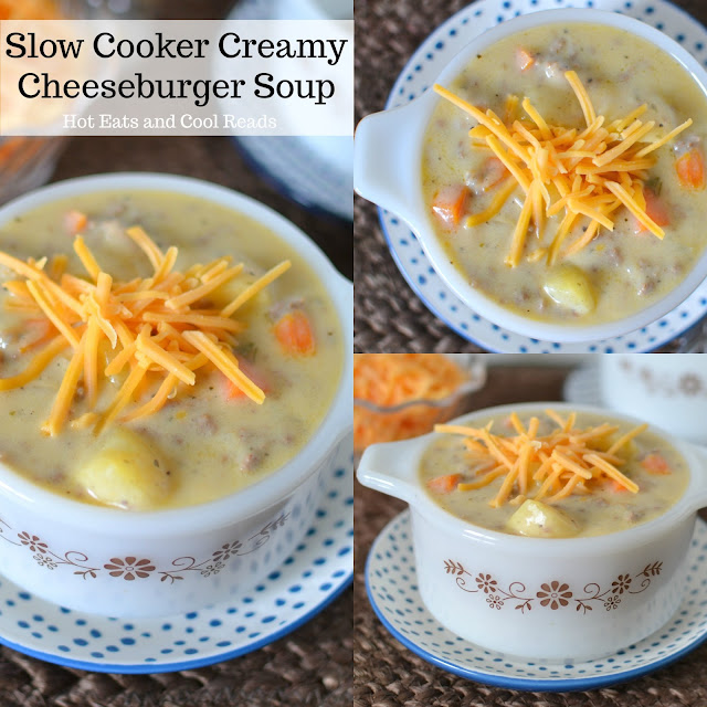 Slow Cooker Creamy Cheeseburger Soup Recipe from Hot Eats and Cool Reads! Let your crockpot do all the work for you with this cheesy, hearty and delicious soup! Great for lunch or dinner and freeze the leftovers for another day.