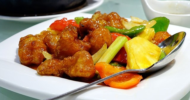 Sweet and sour pork made with carbquick baking mix for Atkins cuisine baking mix
