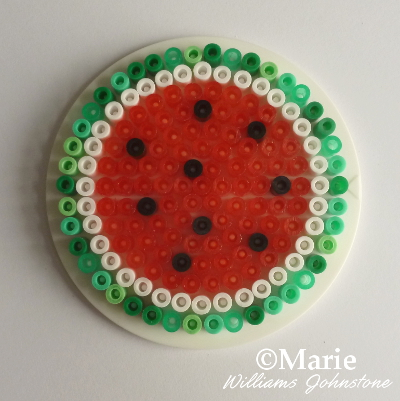 Whole slice circle pattern of a perler bead water melon watermelon design pattern great for coasters