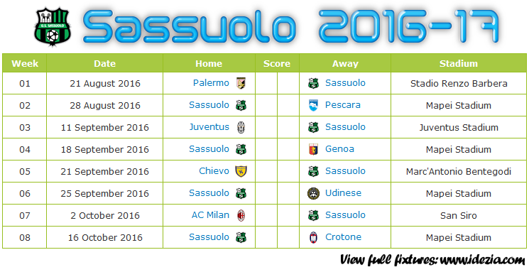 Download Jadwal US Sassuolo Calcio 2016-2017 File PNG - Download Kalender Lengkap Pertandingan US Sassuolo Calcio 2016-2017 File PNG - Download US Sassuolo Calcio Schedule Full Fixture File PNG - Schedule with Score Coloumn