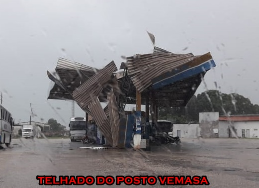 Forte ventania derruba Teto do Posto Vemasa e causa estrago Chapadinha.