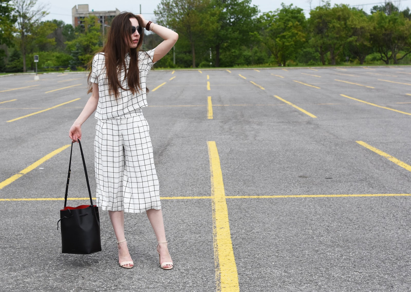 OOTD ft. Forever 21 Grid Set as seen on Diane Kruger, with my Mansur Gavriel bag, Warby Parker Crossfield sunnies, Aldo shoes, and Daniel Wellington watch.