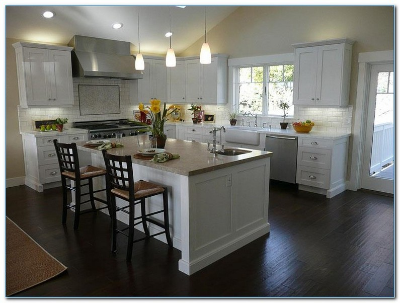 Kitchen With White Cabinets And Dark Floors Design