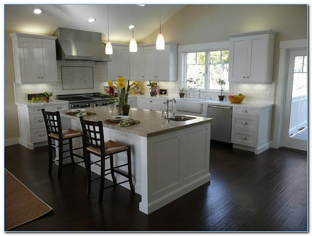 KITCHEN With White CABINETS And Dark Wood Floors Pictures