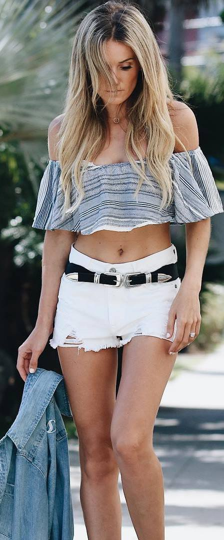cool ootd: off shoulder top + shorts