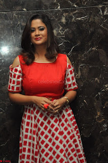 Shilpa Chakravarthy looks super cute in Red Frock style Dress 005.JPG