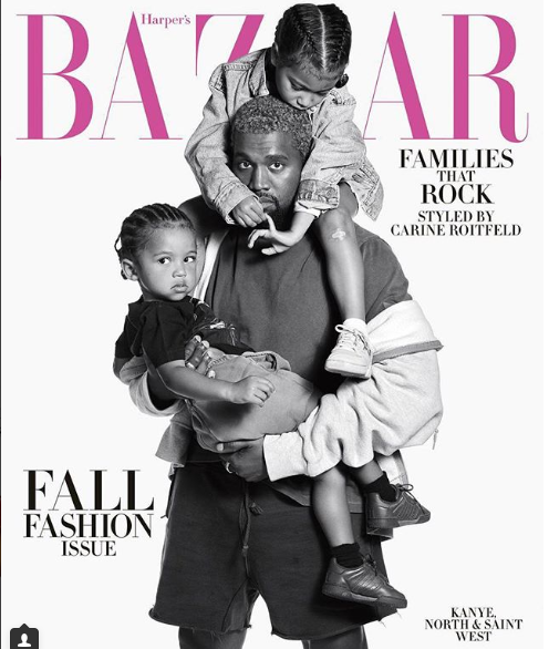 Kanye West covers Harpers Bazaar Magazine with North  and Saint West