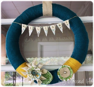 image yarn flower and bunting wreath