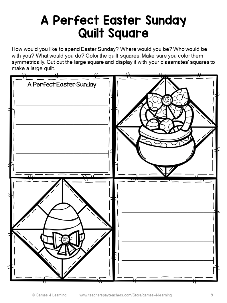 Coloring pages quilt squares - These Are A Few Of The Easter Quilt Square Pages There Are 7 Different Writing Prompts To Choose From And Each One Comes In Two Different Formats