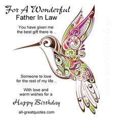 Happy Birthday  wishes quotes for father-in-law: for a wonderful father in law