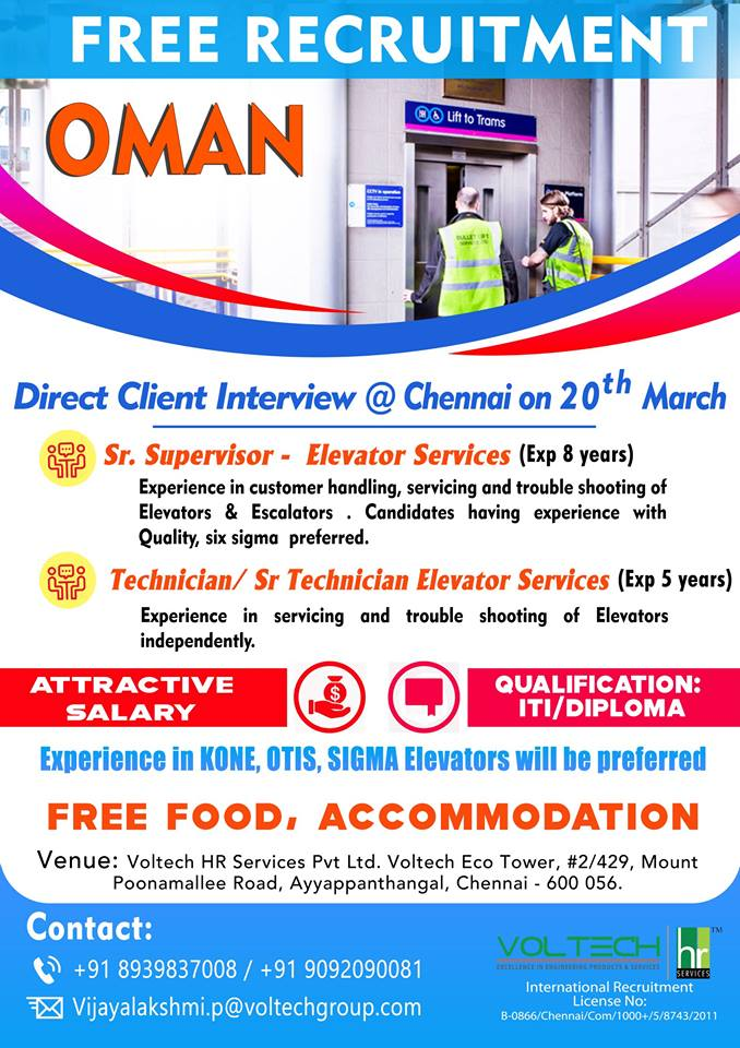 Free Recruitment for Oman – Experience in KONE, OTIS, SIGMA