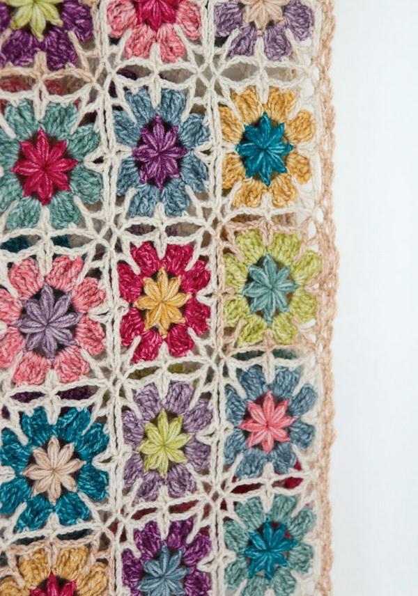 Crochet Wrap Using Simple Crochet Flower