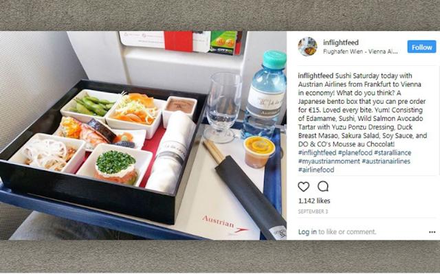 Menu Makanan di dalam Pesawat Austrian Airlines