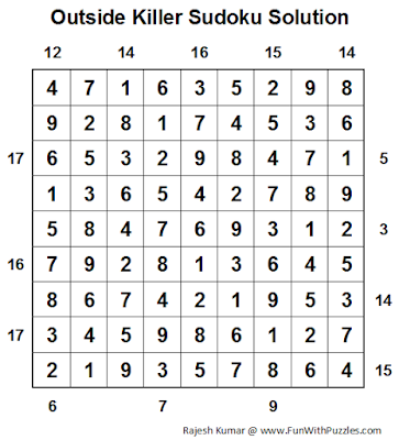 Outside Killer Sudoku (Daily Sudoku League #77) Solution
